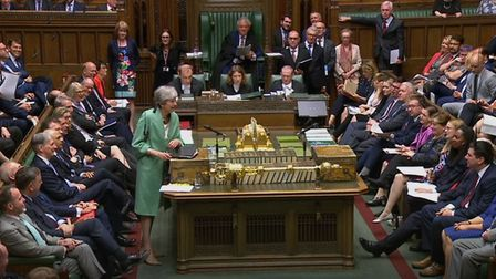 Theresa May during PMQs. Photograph: House of Commons/PA Wire.