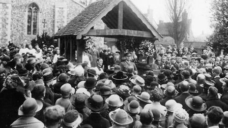 The huge turnout when the lychgate at St Leonard's Church in Sandridge was dedicated after WWI in 19