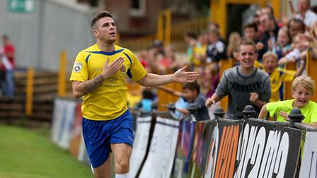 Lee Chappell celebrating his second goal of the afternoon. Picture: Leigh Page