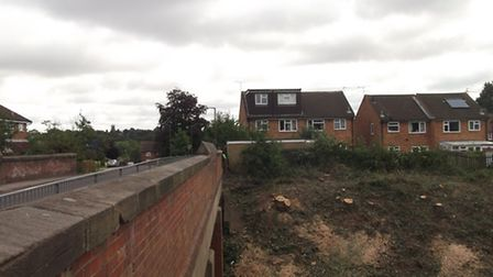 Abbotts Ave bridge side of the Abbey Line, after the trees were felled