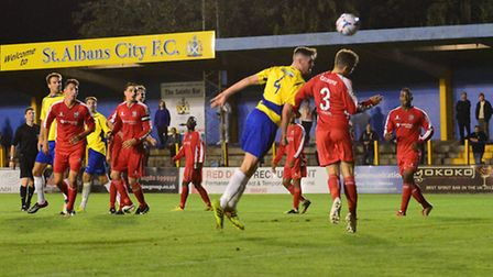 James Kaloczi scores St Albans City's first equaliser against Bromley. Picture: Bob Walkley
