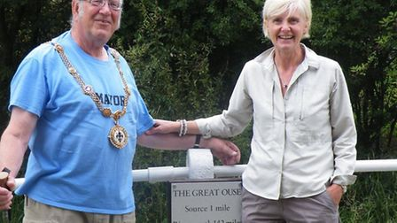 (Left) David Underwood and wife Wendy at the end of their walk in Syresham.