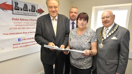 MEP Richard Howitt, visits Life After Debt, in St Neots, with (l-r) Vice Chairman Steve Bird,Founder