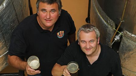 Petar Zivkovic and Mark Fanner of The 3 Brewers of St Albans with the two new beers which resurrect