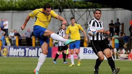 Steve Wales strike the ball into the back of the net to bring the Saints level. Picture: Leigh Page