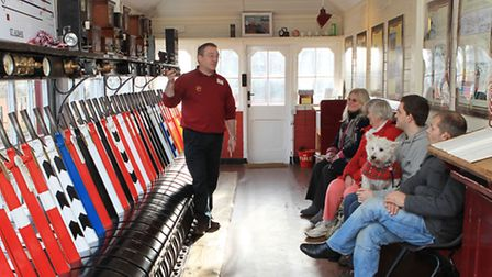 Rob Crisp explains to visitors how the signal box used to work