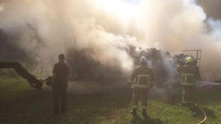 Firefighters fought the straw blaze at Oaklands College in St Albans