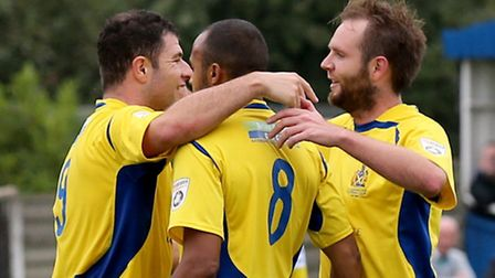The Saints goalscorers John Frendo and Lee Clarke celebrate the thrid goal with James Comley. Pictur
