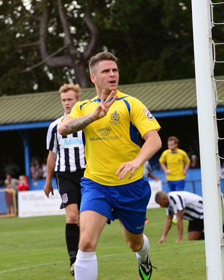 Lee Chappell celebrates his hat-trick. Picture: Bob Walkley