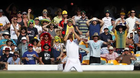 Alastair Cook of England holds his nerve to finally take the catch for the valuable wicket of Mike H