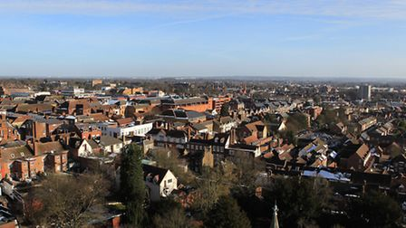 View of the town centre from the top of St Albans Abbey