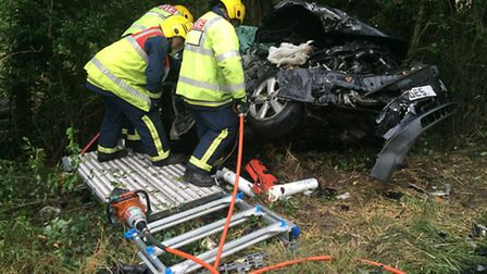 Fire crews used specialist cutting tools to free the casualty.