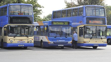 Buses, at Huntingdon Bus Station. Whippet, and Stagecoach.