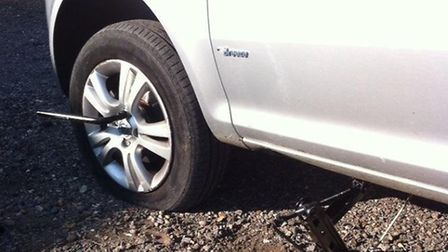 A broken manhole cover on the A507 left four cars with flat tyres (pic: @EHertsRrlPolice on Twitter)
