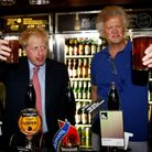 Boris Johnson during a visit to Wetherspoons Metropolitan Bar in London with Tim Martin, Chairman of JD Wetherspoon