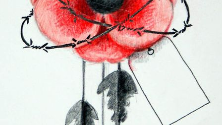 A drawing of one of the poppies