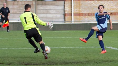 St Neots's Drew Roberts squanders a late chance at Cirencester. Picture: CLAIRE HOWES.