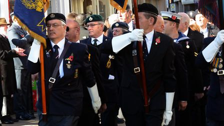 Royal British Legion standards in the Remembrance Sunday parade in Huntingdon in 2012.