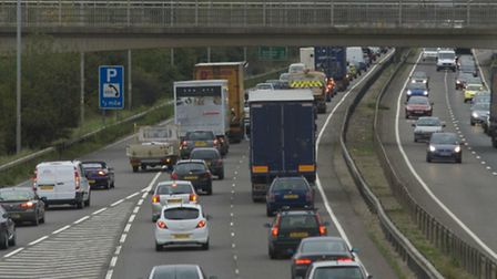 Rush hour traffic on the A14 slip road at Girton