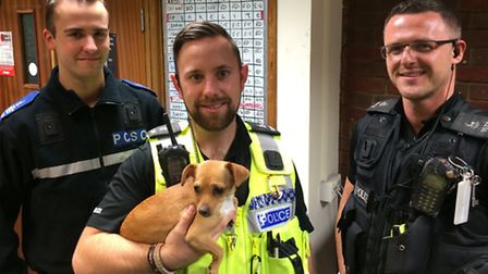 Saffy with the three police officers