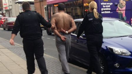 A man was arrested in Chequer Street yesterday evening