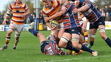Chris Rawlings fights through Old Albanian's defence to score a try. Picture: Chris Farrow