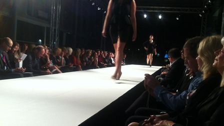 Model Victoria Gray walks the luxe fashion show catwalk on Monday as part of St Albans Fashion Week