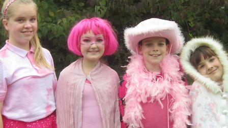 'Pinkiest students' Helena Meehan (Year 8), Poppy Norris (Year 7), Owen Potthast (Year 6) and Alex R
