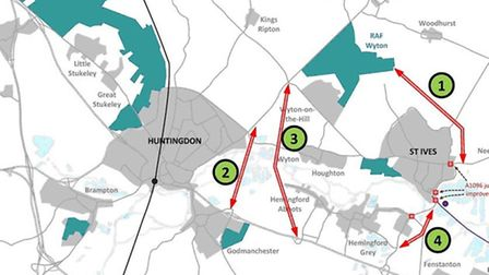 Cambridgeshire County Council's Wyton to A14 link road route options.
