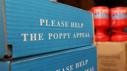 Just some of the boxes of poppy appeal items stored and distributed from Mitchell Hall