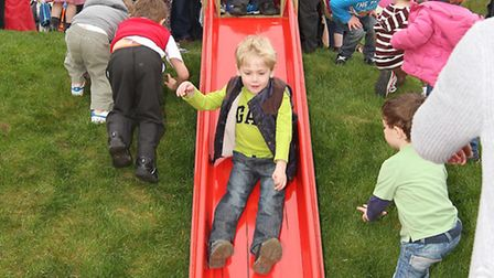 Youngsters try out the new slide at Redbourn play area