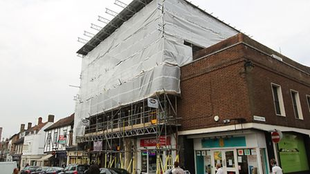 The Herts Advertiser offices covered in scaffolding
