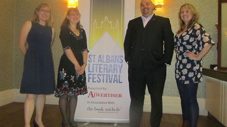 St Albans Literary Festival launch event - (left to right) festival management team Claire Walsh, Je