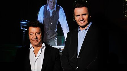 LONDON, ENGLAND - NOVEMBER 18: (L-R) Director Jeff Wayne and actor Liam Neeson pose for a portrait