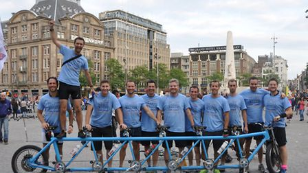 Tom Pellereau, St Albans resident and winner of The Apprentice, on homemade 6-man tandem for 'palace