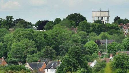 The familiar sight of Harpenden's water tower overlooking the town