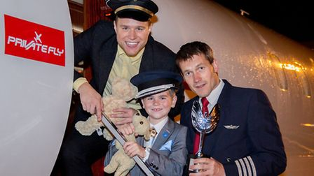 Seven year old Ted jumped aboard the luxury jet with singer Olly Murs