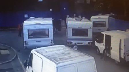 Travellers arriving at the site in Little End Road, Eaton Socon