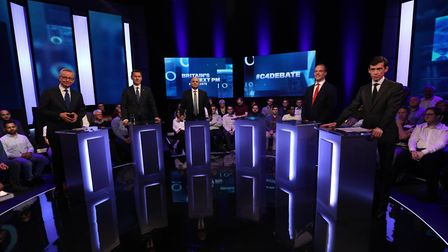 (Left to right) Michael Gove, Jeremy Hunt, Sajid Javid, Dominic Raab and Rory Stewart, with an empty
