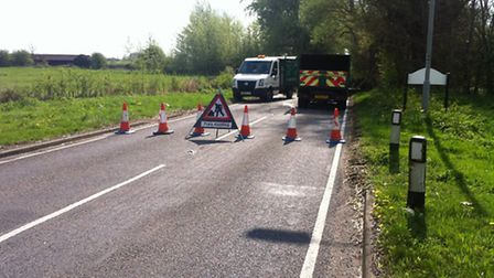 The road between Godmanchester and The Offords was blocked due to a fallen tree earlier this year. P