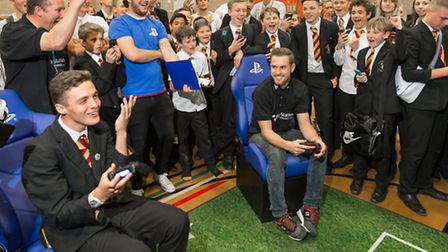 Arsenal star Aaron Ramsey visits Marlborough Science Academy in St Albans, and competes in the PlayS