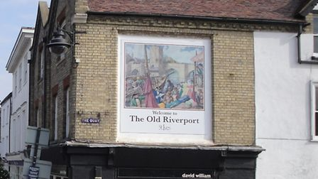The sign, which shows the quayside as it was in the 17th or 18th century.