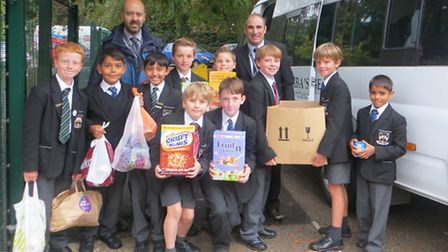 Boys from the Prep School at St Columba's College collected goods for the Open Door Charity in St Al