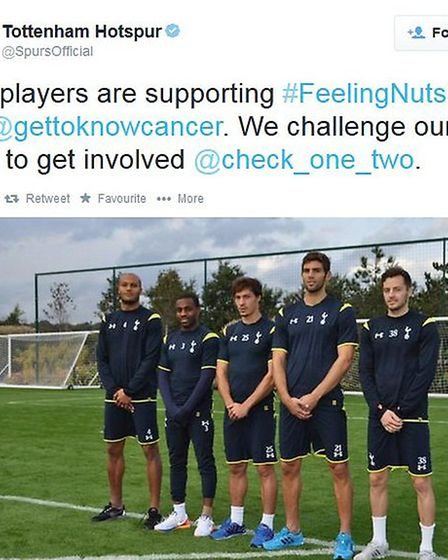 The #FeelingNuts campaign to warn men about testicular cancer has been supported by Tottenham Hotspu