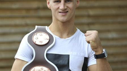 St Neots Boxer Tommy Martin, with his belt.