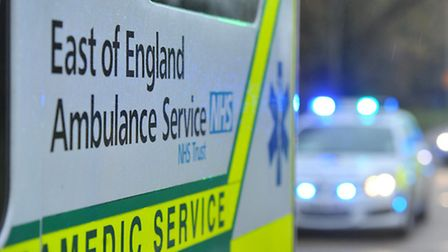 The woman, in her 60s, was taken to Hinchingbrooke Hospital with neck injuries.