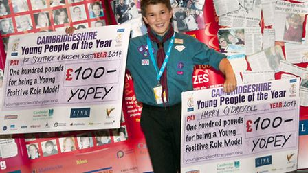 Harry O'Driscoll, who won the 2014 Cambridgeshire Junior Young Person of the Year award, with his ch