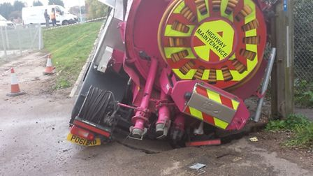 A tanker needs to be removed from a collapsed sewer after becoming stuck. Picture: ANGLIAN WATER.