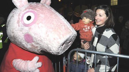 Huntingdon Christmas Lights Switch On, Peppa Pig chats with Felix, Ella, and mum Catherine Metcalfe,