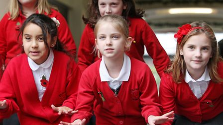 Pupils from Killigrew primary school perform some poetry in the Maltings as part of St Albans litera